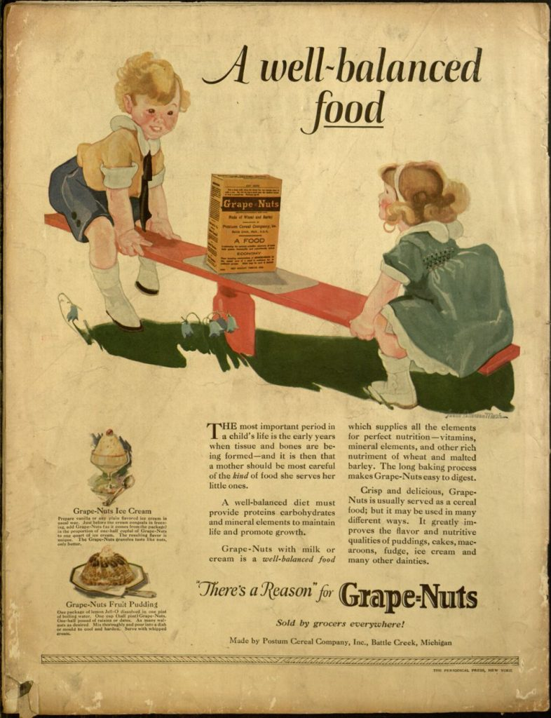 ad for Grape-Nuts on the back cover of The People's Home Journal, v. XXXVIII, no. 7, July, 1923