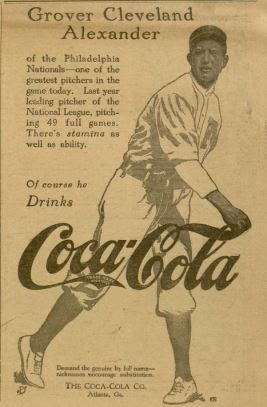 photo of a 1916 Coca Cola advertisement featuring Grover Cleveland Alexander