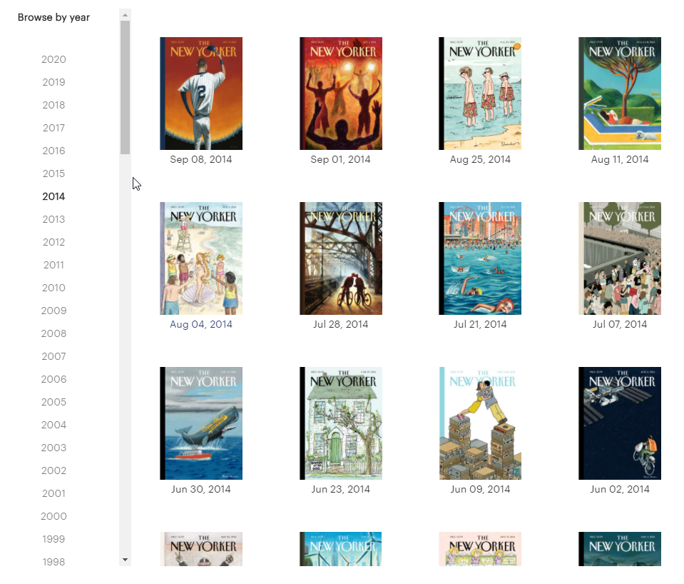 New Yorker covers - clickable thumbnails