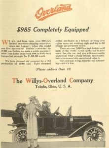 advertisement from The Willy-Overland Company