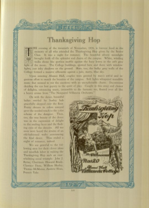 screenshot of a page from the 1927 Belle Air talking about the Thanksgiving Hop