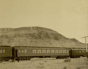Pullman car on a passenger train, ca. 1910s