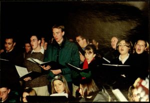 picture from 1999 Christmas Tree Lighting of people caroling