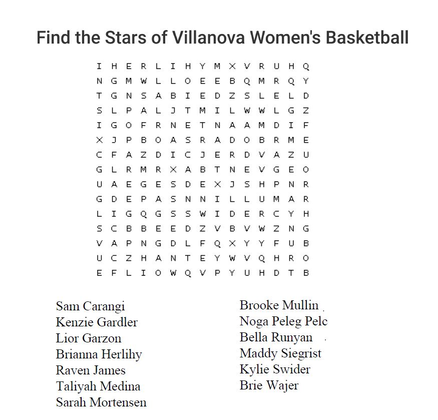 Word Search Women's Basketball