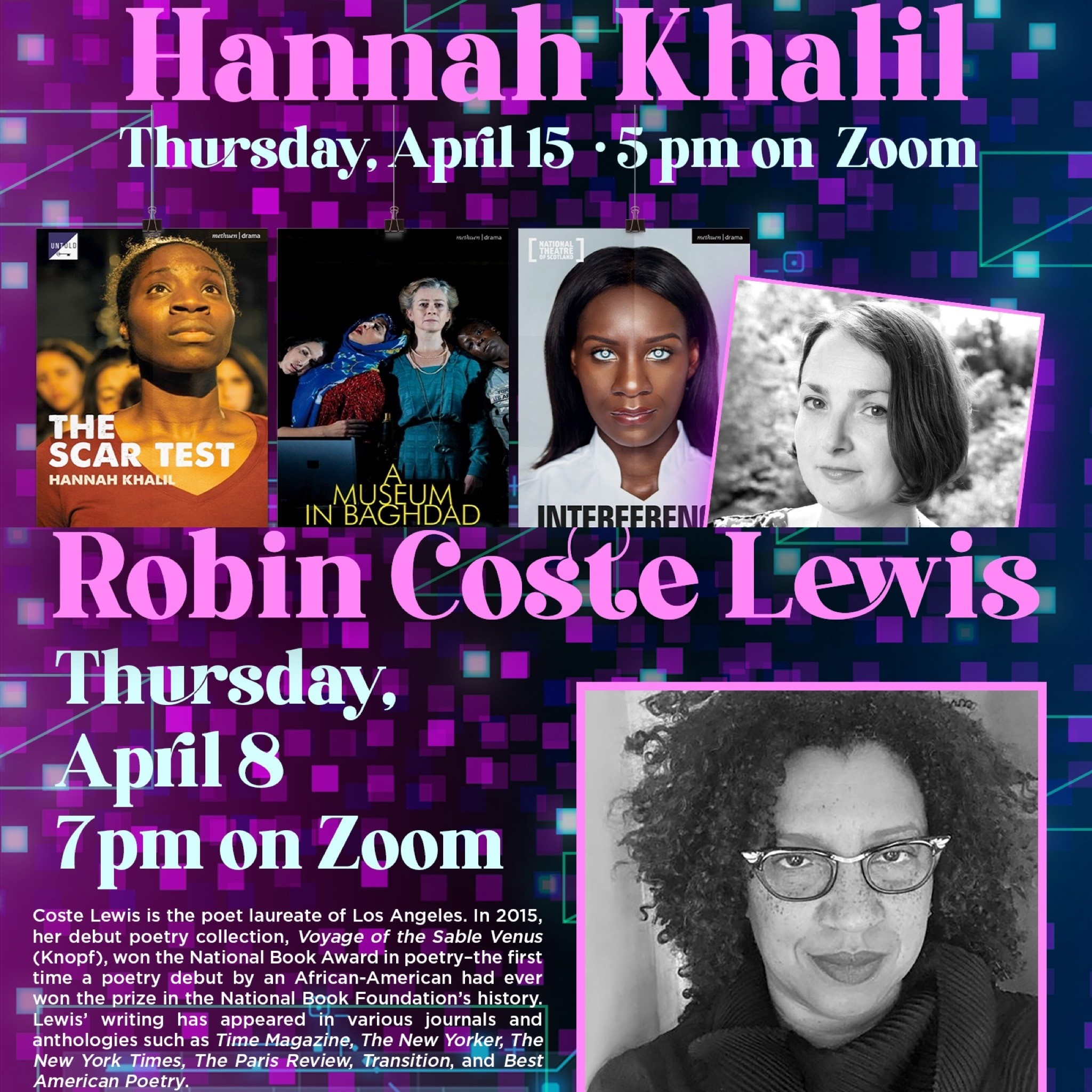 Literary Festival poster with Hannah Khalil and Robin Coste Lewis