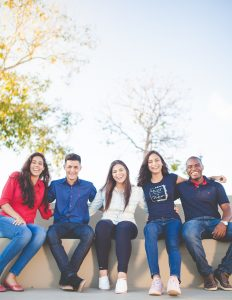 Happy group students