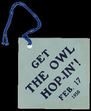 Owl Hop tag, 1950