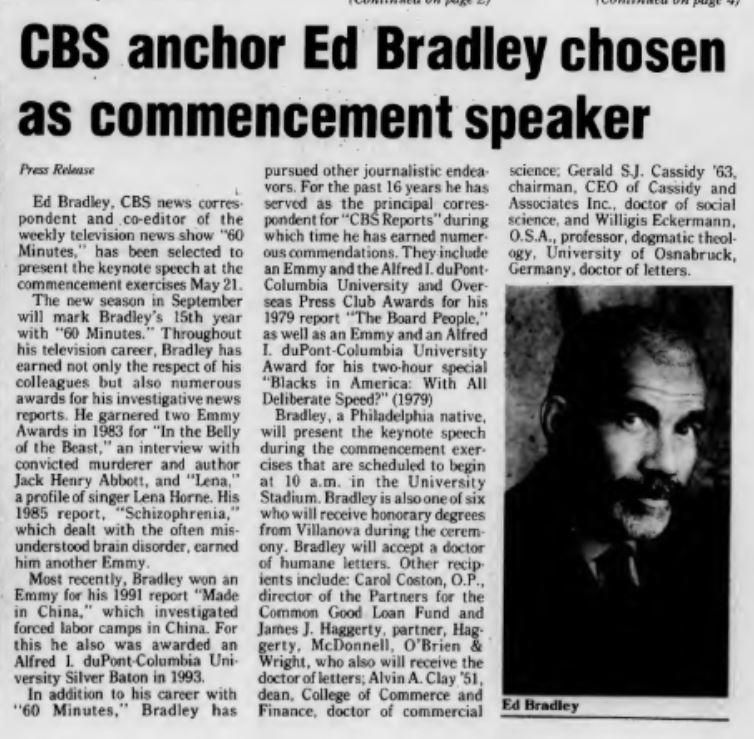Villanovan Article on Ed Bradley as Commencement Speaker