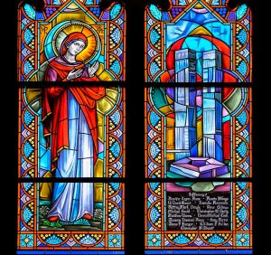 """""""Stained glass window in Corr Hall Chapel in hornor of those who died in the attacks on Sept. 11, 2001"""""""