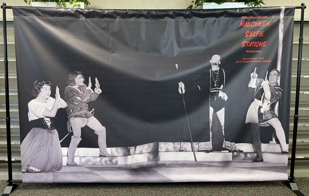 Photo of a selfie station featuring an image from a Villanova Theatre production (1960).
